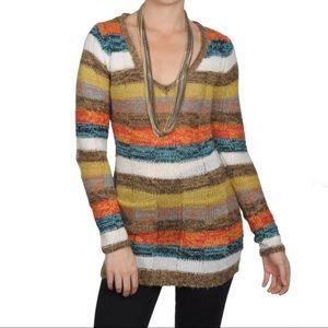 Ultra Flirt Junior's Striped V-neck Tunic Sweater